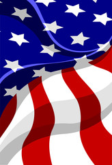 Vector illustration of part of the flag of the United States of America with folds indicating it is waving.