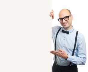 stylish bald man presenting blank white banner