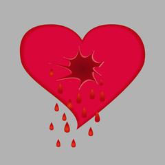 Crying heart. Broken heart
