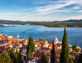 Panorama of the mediterranean city of Sibenik and the sea. Croatia