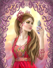 Fantasy beautiful woman holds a bottle in hand