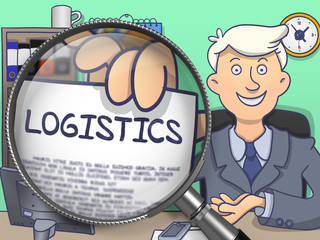 Logistics on Paper in Man's Hand to Illustrate a Business Concept. Closeup View through Lens. Colored Doodle Illustration.
