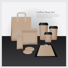 Coffee Shop Set Mock Up Coffee Cup, Paper Bag, Coffee Coaster and Paper