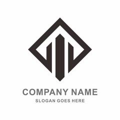 Simple Square Building Shape Architecture Vector Logo Template
