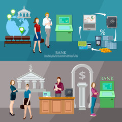 Customers in the bank banner interior bank business people