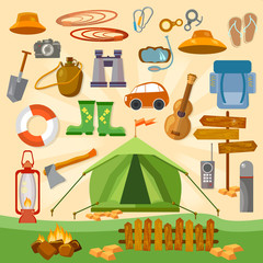 Set of camping equipment icons and symbols