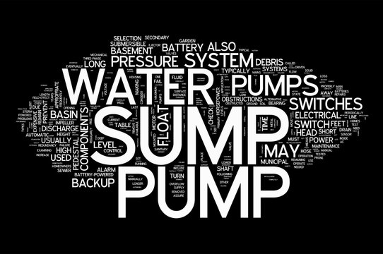 Sump Pump collage of word concepts