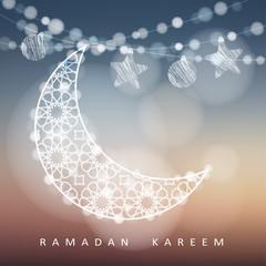 Ramadan string with ornamental moon, stars, balls and bokeh lights. Blurred vector illustration background. Ramadan card.