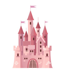 Illustration of a Cute Pink Castle vector