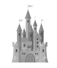 Grey castle in a flat style on white background. The castle with lots of towers. Cartoon stone castle. Vector illustration.