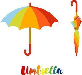 Obraz Umbrella, colorful open and closed umbrella - fototapety do salonu
