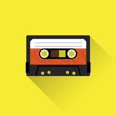 Cassette tape icon flat style. Isolated icon depicting retro technology, music tape cassette. Vintage cassette tape sign. Flat series.