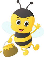 funny cartoon bee carrying honey