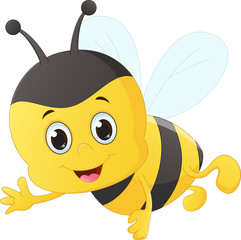 cute bee cartoon flying