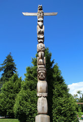 Canada British Columbia Vancouver Stanley park First Nations tribal art carved wood Totem Poles