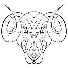 Hand drawn astrological zodiac sign Ram