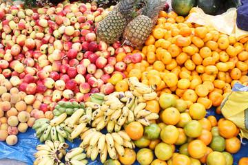 Apples, Bananas, Tangerines at Market in Peru