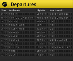Airport timetable showing departure destinations. Worldwide destinations shown, including Zurich, Moscow, London, Sydney and others. Very detailed illustration of airport timetable.