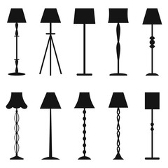 Set of floor lamp silhouettes, vector illustration