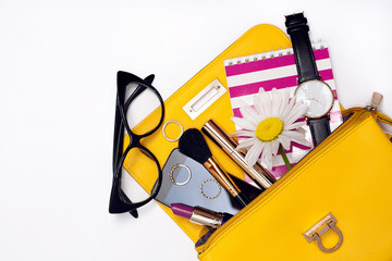 Wall Mural - Top view bag with make up female fashion accessories.