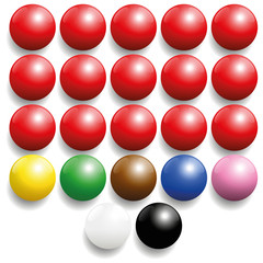 Snooker balls set - commonly used colors. Three-dimensional isolated vector illustration on white background.