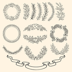 Hand Drawn Ornament Set. Circles, Banner, and more.