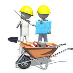 Construction worker in action, 3d rendering