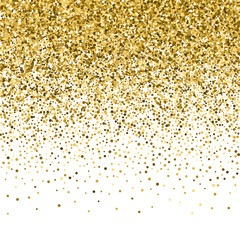 Gold glitter shine texture on a black background. Golden explosion of confetti. Golden abstract particles on a dark background. Isolated Holiday Design elements. Vector illustration.