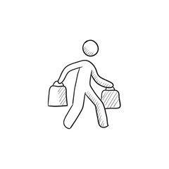 Man carrying shopping bags sketch icon.