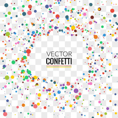 Colorful Confetti on Transparent background. Christmas, Birthday, Anniversary Party Concept. Vector Illustration