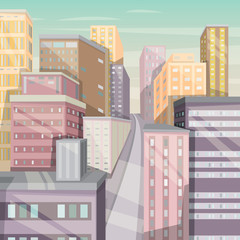 City landscape with skyscrapers. Cartoon vector illustration