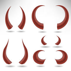Halloween Red Horns Isolated on White Background. Devils Horns