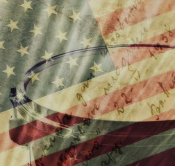 Old Grunge USA Flag with grunge drum background and texture