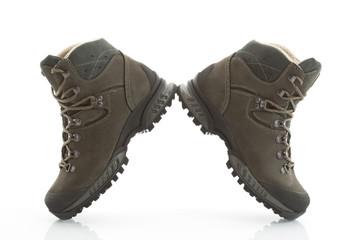 Lederschuh, Schuhe, Wanderschuhe, weißer Hintergrund