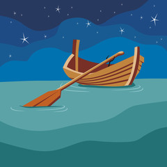 Boat with a paddle on the water. Night.