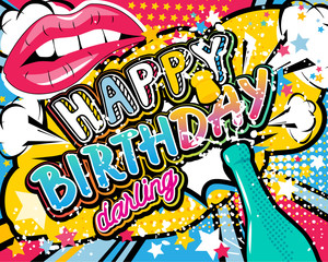Birthday Card - vector illustration with champagne, lips and stars elements.