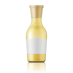 Glass bottle with wide neck and label.