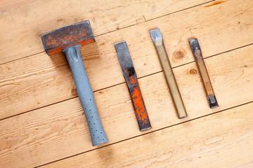 Werkzeug, Hammer, Fäustel, Meißel