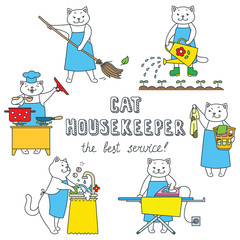 Set of funny housekeeper cats. Doodle vector illustration