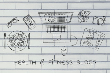 health & fitness blogger desk with laptop, health & fitness blog