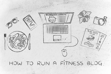 health & fitness blogger desk with laptop, how to run a blog