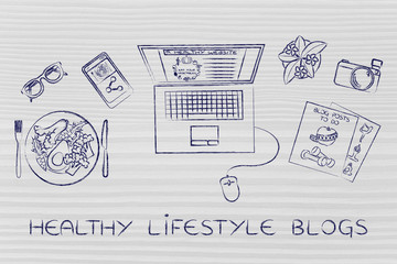 health & fitness blogger desk with laptop, healthy lifestyle blo