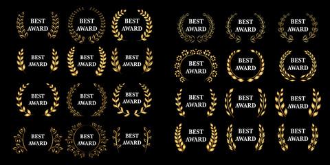 Best award mega set Vector gold award laurel wreath set. Winner label, leaf symbol victory, triumph and success illustration set.