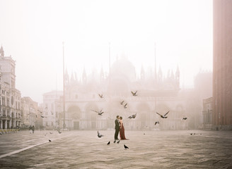 Bride and groom in Piazza San Marco, Venice