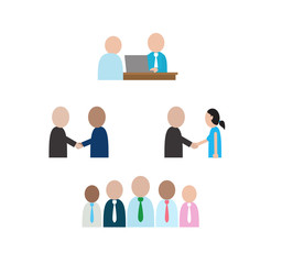 Abstract people character in social business situations. Company community vector set