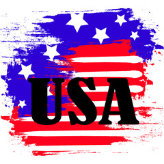 USA flag painted strokes brushes with text