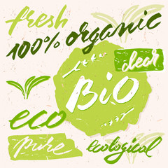 Organic, bio, eco, fresh, pure and ecological. Hand drawn label for organic and natural food.