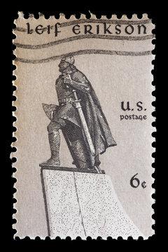 United States used postage stamp showing the viking explorer Leif Erikson