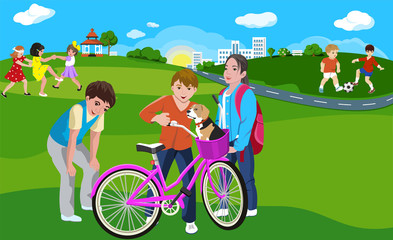 Kids Playing in Green Park on the City. Outdoor games, vector illustration