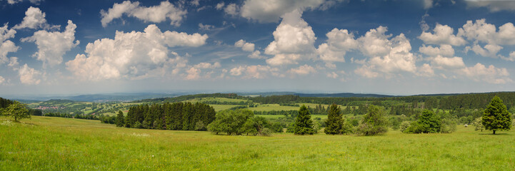 Poster Hill Panorama Vogelsberg vom Gipfel des Hoherodskopf
